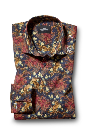 Moss London Casual Single Cuff Tiger Print Shirt