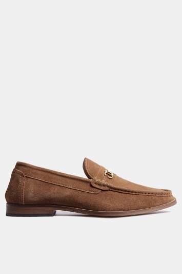 Moss London Oakleigh Tan Suede Buckle Loafer Shoe