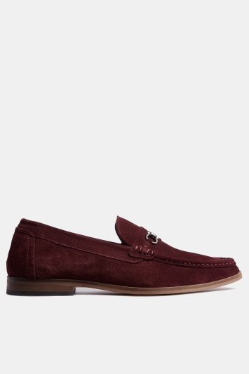 Moss London Oakleigh Burgundy Suede Buckle Loafer Shoe