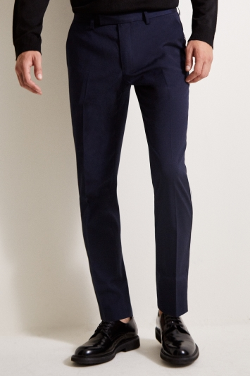 Moss London Slim Fit Blue with Black and White Side Stripe Trousers