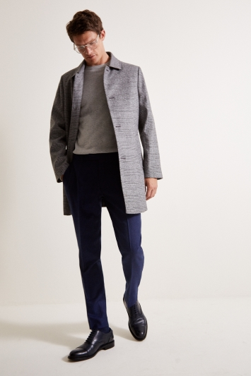 Moss 1851 Tailored Fit Grey Check Bonded Car Coat