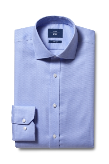 Moss 1851 Tailored Fit Sky Single Cuff Twill Non-Iron Shirt