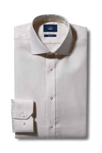Moss 1851 Tailored Fit Cream Single Cuff Twill Non-Iron Shirt