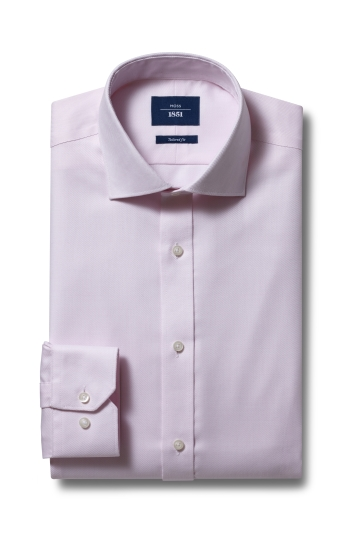 Moss 1851 Tailored Fit Pink Single Cuff Twill Non-Iron Shirt