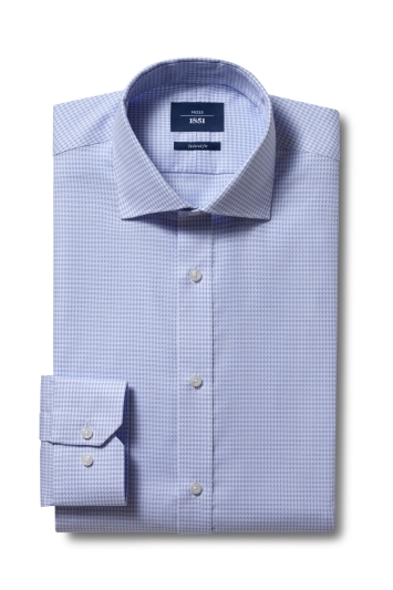 Moss 1851 Tailored Fit Sky Single Cuff Puppytooth Non-Iron Shirt