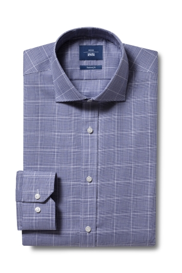 Moss 1851 Tailored Fit Navy Single Cuff Check Non-Iron Shirt