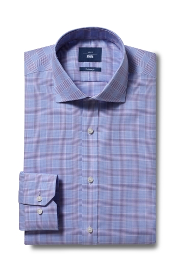 Moss 1851 Tailored Fit Lilac Single Cuff Check Non-Iron Shirt