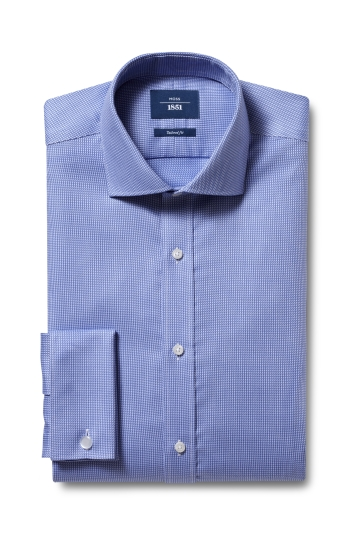 Moss 1851 Tailored Fit Blue Double Cuff Dobby Non-Iron Shirt