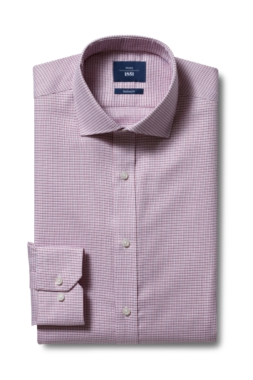 Moss 1851 Tailored Fit Pink Single Cuff Dobby Non-Iron Shirt