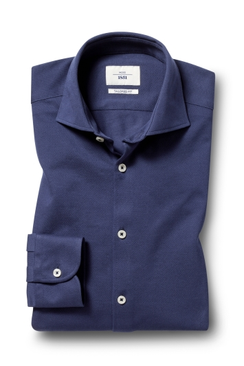 Moss 1851 Tailored Fit Navy Single Cuff Knit Shirt