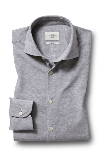 Moss 1851 Tailored Fit Grey Single Cuff Knit Shirt