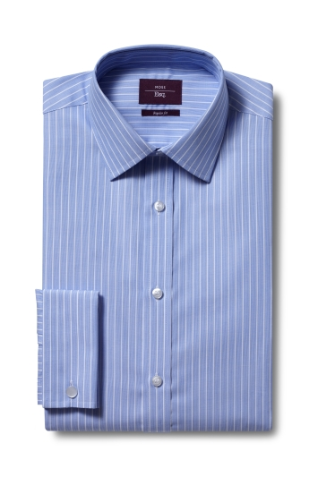 Moss Esq. Regular Fit Blue Double Cuff Stripe Non Iron Shirt