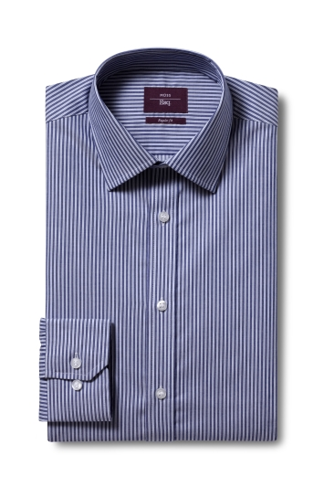 Moss Esq. Regular Fit Navy Single Cuff Stripe Non Iron Shirt