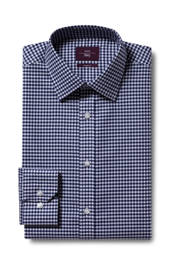 Moss Esq. Regular Fit Navy Single Cuff Gingham Check Non Iron Shirt