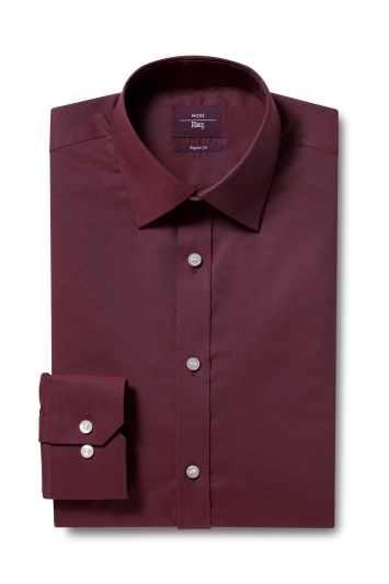 Moss Esq. Regular Fit Red Single Cuff Oxford Non Iron Shirt