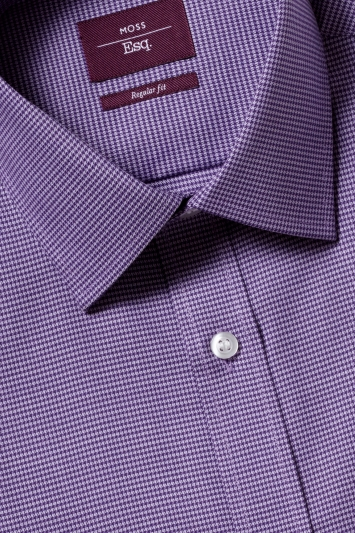 Moss Esq. Regular Fit Purple Single Cuff Puppytooth Non Iron Shirt