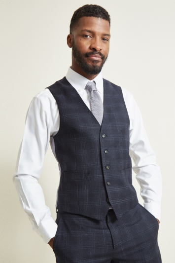 Moss 1851 Tailored Fit Blue Check Jacket
