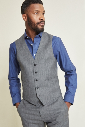 Moss 1851 Tailored Fit Grey Check Waistcoat