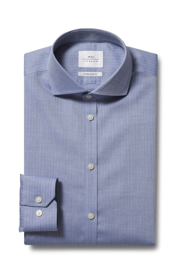 Moss London Premium Extra Slim Fit Blue Single Cuff Herringbone Zero Iron Shirt