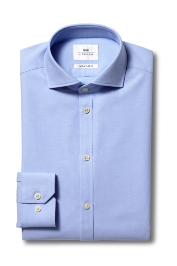 Moss London Premium Extra Slim Fit Sky Single Cuff Performance Oxford Zero Iron Shirt