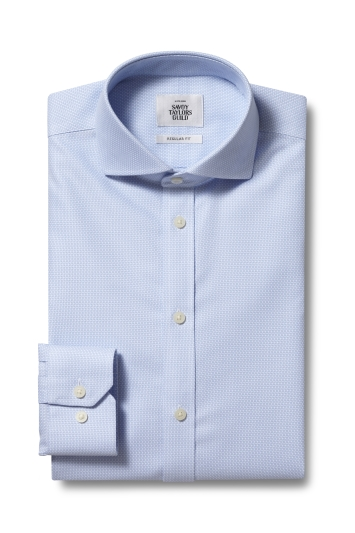 Savoy Taylors Guild Regular Fit Sky Single Cuff Honeycomb Zero Iron Shirt