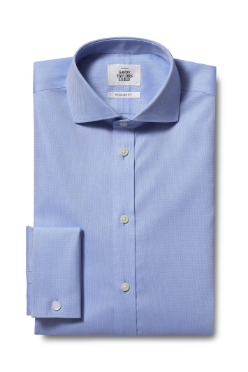 Savoy Taylors Guild Regular Fit Sky Double Cuff Textured Zero Iron Shirt