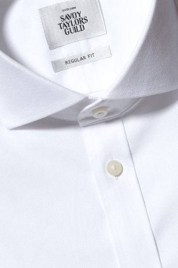 Savoy Taylors Guild Regular Fit White Double Cuff Textured Zero Iron Shirt