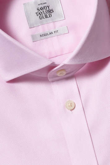 Savoy Taylors Guild Regular Fit Pink Double Cuff Textured Zero Iron Shirt