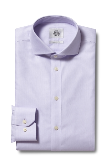 Savoy Taylors Guild Regular Fit Lilac Single Cuff Herringbone Zero Iron Shirt