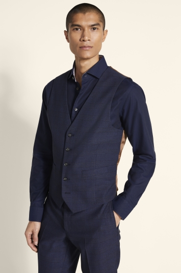 Moss 1851 Tailored Fit Navy Gold Check Waistcoat