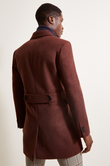 Moss London Slim Fit Rust Double Breasted Overcoat