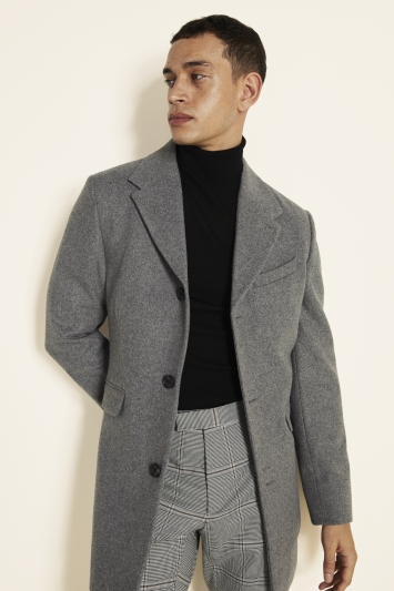Moss London Slim Fit Light Grey Overcoat Single Breasted