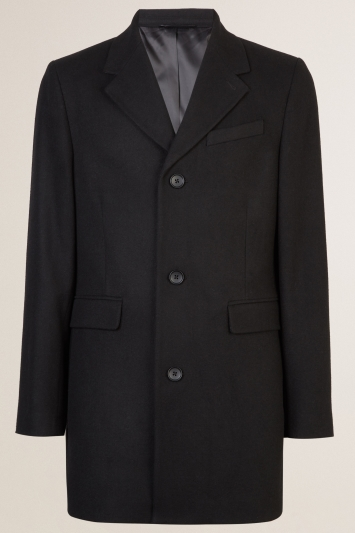 Moss London Slim Fit Black Overcoat