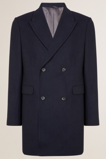 Moss London Slim Fit Navy Double Breasted Overcoat