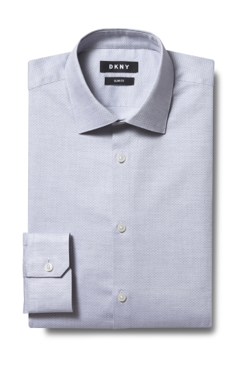 DKNY Slim Fit Grey Single Cuff Diamond Texture Shirt