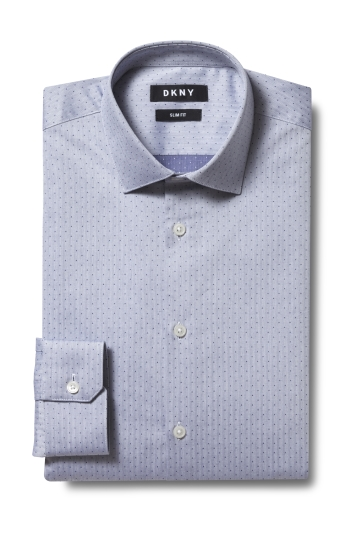 DKNY Slim Fit Blue Single Cuff Herringbone Shirt