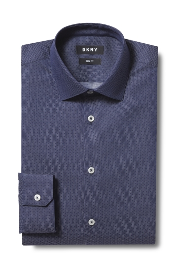 DKNY Slim Fit Navy Single Cuff Dobby Shirt