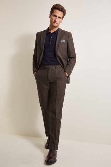 Moss 1851 Tailored Fit Chocolate Herringbone Tweed Jacket