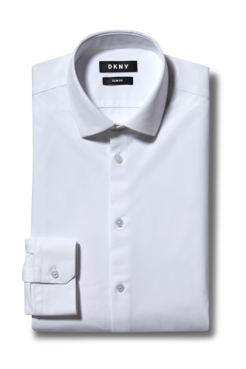 DKNY Slim Fit White Single Cuff Active Stretch Shirt