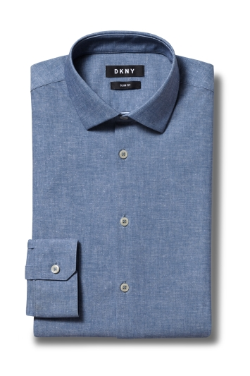 DKNY Slim Fit Blue Single Cuff Active Stretch Shirt