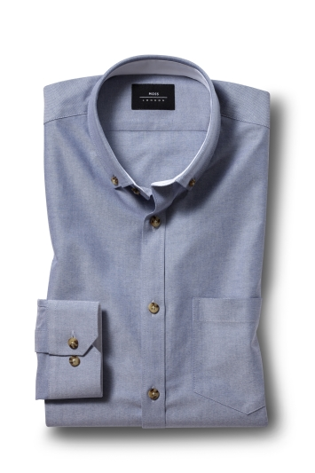 Moss London Casual Skinny Fit Sky Button Down Stretch Oxford Shirt