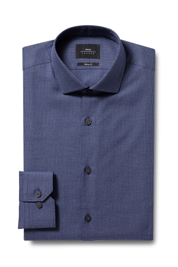 Moss London Skinny Fit Navy Single Cuff Puppytooth Shirt