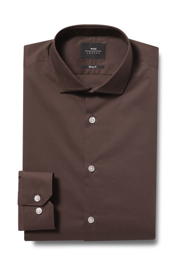 Moss London Skinny Fit Brown Single Cuff Stretch Shirt