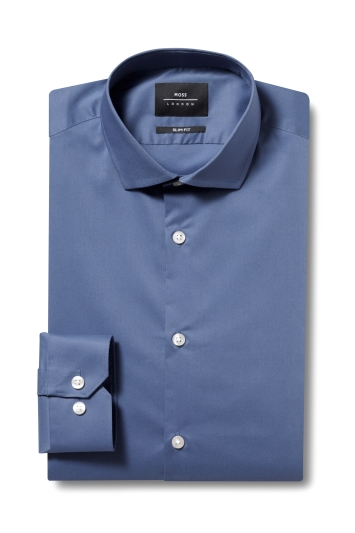 Moss London Skinny Fit Blue Single Cuff Stretch Shirt