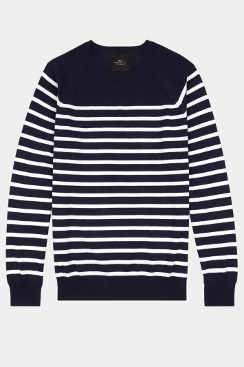 Moss London Navy with White Breton Stripe Crew-Neck Jumper