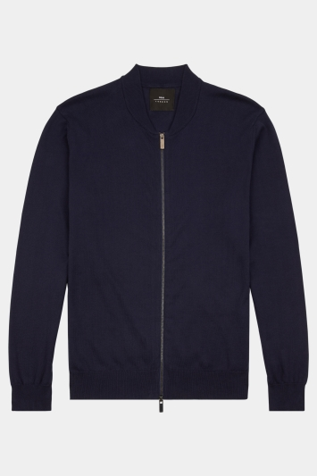 Moss London Navy Knitted Bomber Cardigan