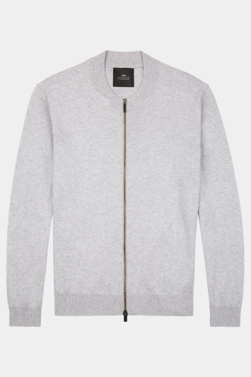 Moss London Silver Knitted Bomber Cardigan