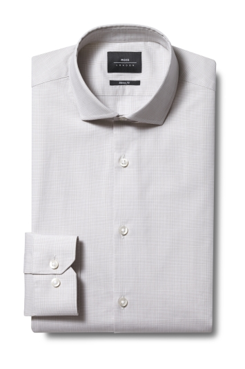 Moss London Skinny Fit Cream Single Cuff Stretch Check Shirt