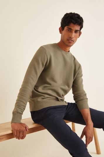 Moss London Sage Textured Crew-Neck Jumper