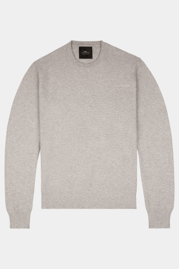Moss London Silver Textured Crew-Neck Jumper